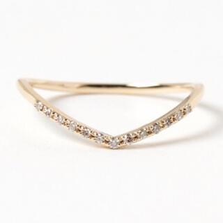 アガット(agete)のagete アガット V字ライン ダイヤモンド リング K18YG  #9 (リング(指輪))