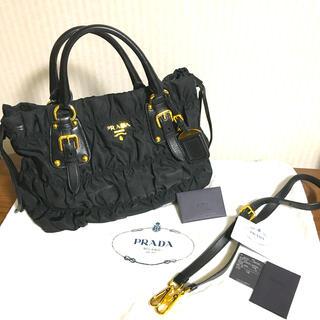 PRADA - 【極美品】PRADA ギャザーレザーコンビ2wayバッグ