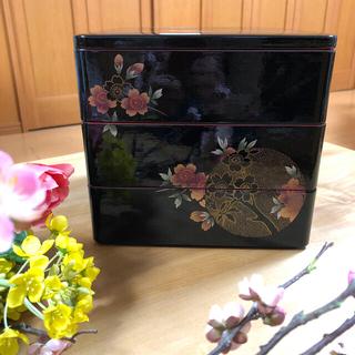 三段重箱 木乾 おぼろ月、桜(弁当用品)