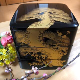 重箱、三段重箱 黒松 木乾(弁当用品)
