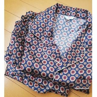 シルク パジャマ 紺ベース ドット柄 紺×赤