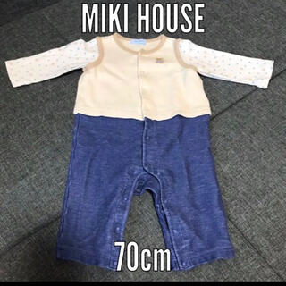 mikihouse - MIKI HOUSE 重ね着風 ロンパース ベスト 70cm 綿 ミキハウス