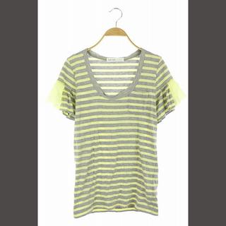 サカイラック(sacai luck)のサカイラック sacai luck 裾フリルボーダーTシャツ 半袖 2 グレー(Tシャツ(半袖/袖なし))