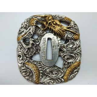 5963刀鍔 銅地 絵金銀 日本刀装具 居合道用 鍔 つば 鐔 刀鐔 刀の鍔(武具)