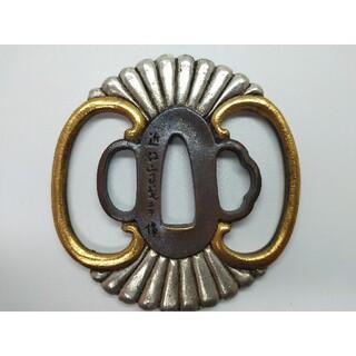 5976刀鍔 銅地 絵金銀 日本刀装具 居合道用 鍔 つば 鐔 刀鐔 刀の鍔(武具)