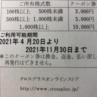 クロスプラス株主優待クーポン2枚(ショッピング)