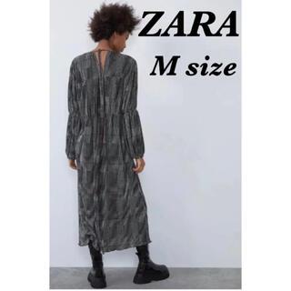 ZARA - 《新品未使用》ZARA (ザラ)バックリボンチェックロングワンピース  春 M