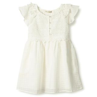Branshes - branshes(ブランシェス) 胸元レース半袖ワンピースドレス 150cm 白