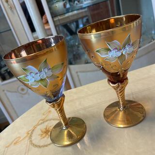 Venetian glassベネチアングラス ペア ゴブレット