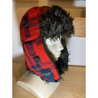 アバクロンビーアンドフィッチ(Abercrombie&Fitch)の新品未使用品 アバクロンビー ニット 帽子 レッド 赤 チェック(ニット帽/ビーニー)