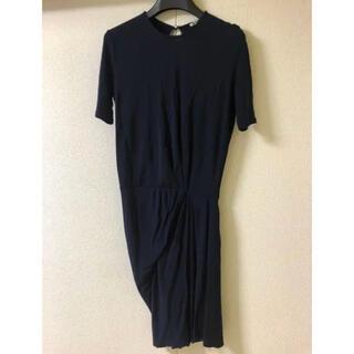 ACNE - ACNE ワンピース/ バックオープン ドレス 半袖 膝丈 ネイビー