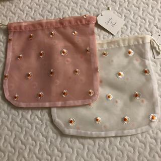 3COINS - 3coins フラワー刺繍巾着