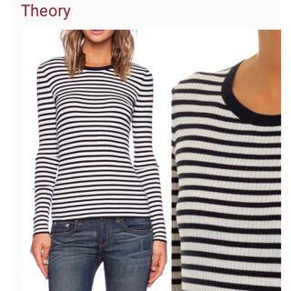 theory - theory セオリー ボーダーリブニットREFINE ウール素材 ストライプ柄