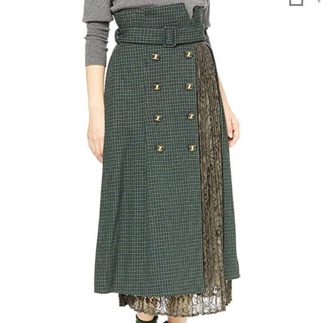 Lily Brown(リリーブラウン)のLily Brown 異素材切り替えスカート レディースのスカート(ロングスカート)の商品写真