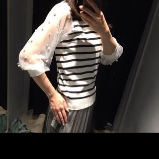 ラミア(LAMIA)のチュールボリューム袖パール付きボーダーカットソー Tシャツ トップス(ニット/セーター)
