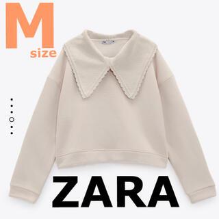 ZARA - 【ZARA】ザラ M ニットカラースウェットシャツ ニットえり