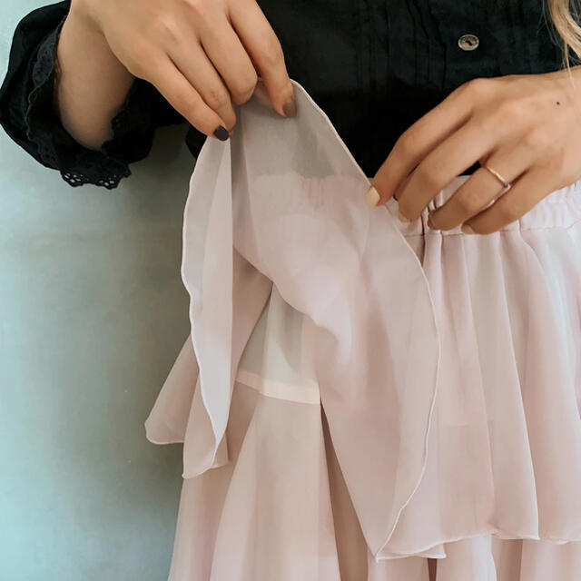 l'atelier du savon(アトリエドゥサボン)のmadder madder  peach's foot prints(ピンク) レディースのスカート(ロングスカート)の商品写真