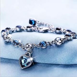 新品 K18 CZダイヤモンド サファイアオーシャンブルーブレスレット きれいめ
