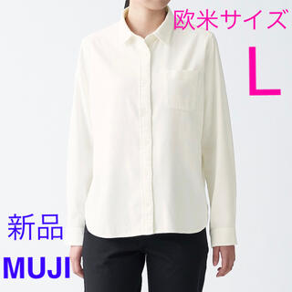 ムジルシリョウヒン(MUJI (無印良品))の新品 無印良品 フランネルシャツ レディース 欧米サイズ L   オフ白(シャツ/ブラウス(長袖/七分))