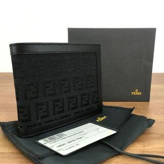フェンディ(FENDI)の未使用品 FENDI 二つ折り財布 ブラック ズッカ柄 93(折り財布)