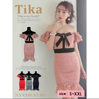 dazzy store - Tika レースオフショル マーメイド タイト ミニドレス ピンク