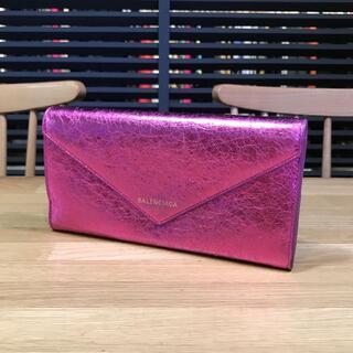 Balenciaga - 良品 バレンシアガ ペーパー 長財布 メタリックピンク フラップ