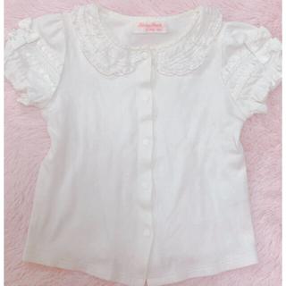 Shirley Temple - シャーリーテンプル90 フリルリボンブラウス白 レース襟