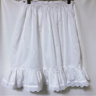 着丈50cm GHオリジナル☆シンプル綿ローンペチスカート ペチコート 裾レース