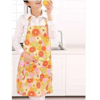 エプロン 家庭用 キッチン用 かわいい ポケット 防水 抗油 ピンク 花柄(その他)