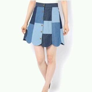 ワンアフターアナザーナイスクラップ(one after another NICE CLAUP)の裾スカラップ前釦スカート(ミニスカート)