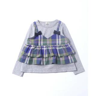 KP - 【新品タグ付き】trois lapinsチェック柄ドッキング長袖Tシャツ