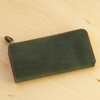 トチギレザー(栃木レザー)の栃木レザー 本革 長財布 L字 ラウンド 日本製 702 グリーン 緑 新品f(財布)
