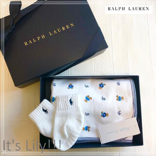 Ralph Lauren - 国内定価9000円! スムームコットン ポロベアおくるみ ギフトに最適! ブルー