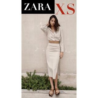 ZARA - 【新品/未着用】 ZARA リネンブレンドドレープスカート リネンスカート