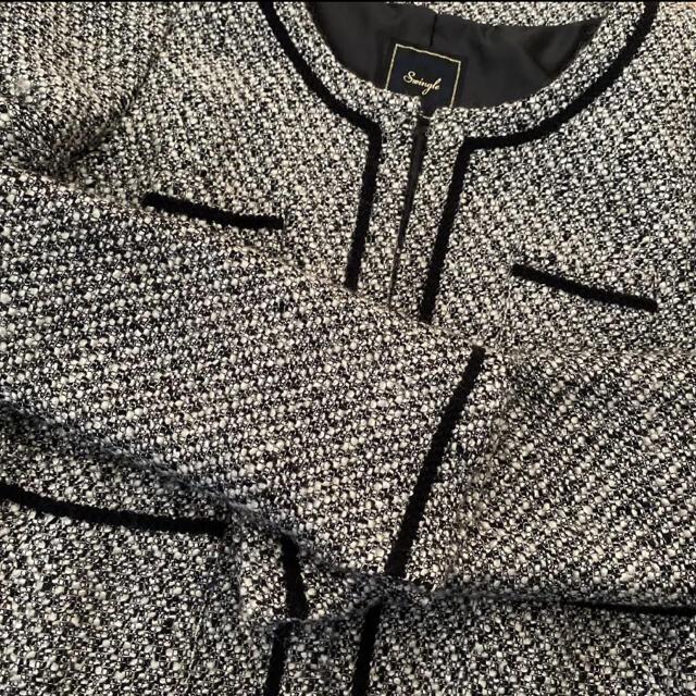 Swingle(スウィングル)のスウィングル  ノーカラージャケット ツイードジャケット 卒入園 フォーマル レディースのジャケット/アウター(ノーカラージャケット)の商品写真