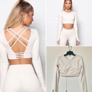 ルルレモン(lululemon)の新品 fashion nova アクティブウエア 白 ホワイト クロップトップ(ヨガ)