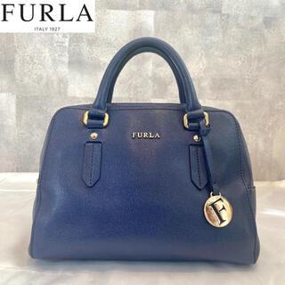 Furla - 【美品】FURLA フルラ ハンドバッグ エレナ ネイビー ゴールドチャーム