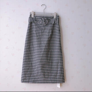 dazzlin - 未使用タグ付 dazzlin ライトピンク×ブラックチェック ベルト付スカート