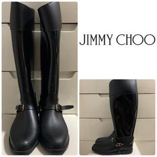 JIMMY CHOO - ジミーチュウ ブラックラバー バックロゴプレート レインブーツ