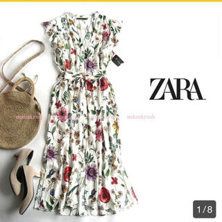 ZARA - 【美品 人気即完売】ボタニカル花柄プリントワンピースM 川崎希