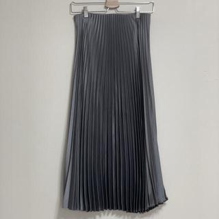 ZARA - Zara サテンプリーツスカート シルバー グレー