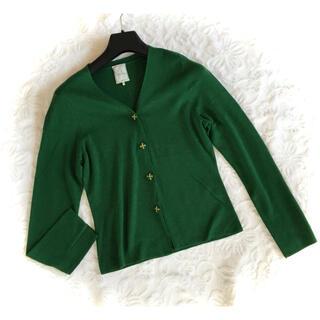 Sybilla - 新品同様シビラグリーン刺繍ボタン春物定番薄手ウールニット長袖カーディガンL