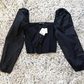 ZARA - 新品 ZARA 長袖 フリル リーブ トップス ブラック 黒 シャツ