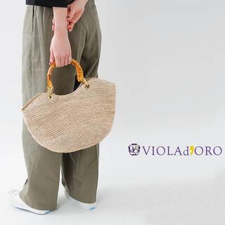 イエナ(IENA)のVIOLAd'ORO ヴィオラドーロ アバカ×カウレザーバンブーハンドルバッグ(かごバッグ/ストローバッグ)