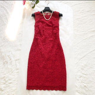 Ralph Lauren - 極美品‼️【ラルフローレン】デコルテシースルー 厚み刺繍ワンピース赤レッドお花