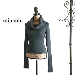 miumiu - miu miu ミュウミュウ セーター ダークグレー レディース タートルネック