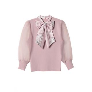 eimy istoire - eimyistoire♡EMチェーンスカーフ付きシアースリーブニットプルオーバー