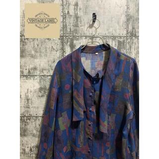 クレイジーパターン 古着 変形襟 ビンテージシャツ メンズ 総柄 長袖シャツ