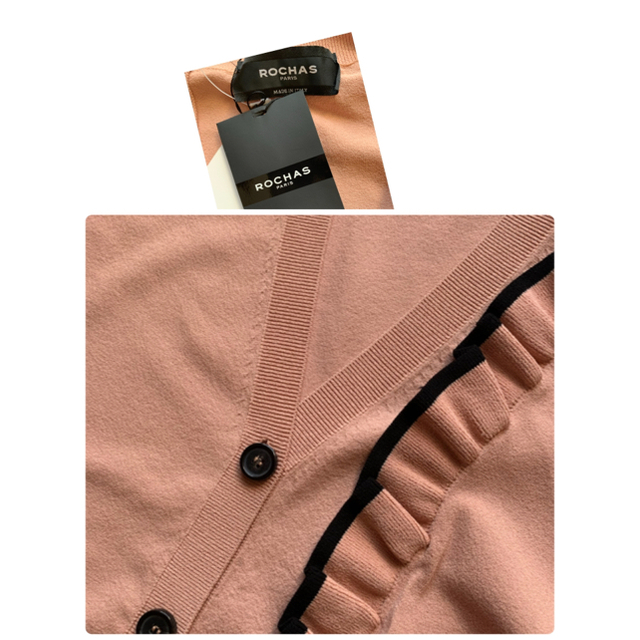 CHANEL(シャネル)の【専用】38=9号  新品未使用 ロシャス 袖フリルカーディガンカットソー レディースのトップス(カーディガン)の商品写真