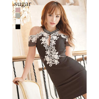 シアー ミニ ビジュー レース キャバ タイト ドレス ワンピース sugar